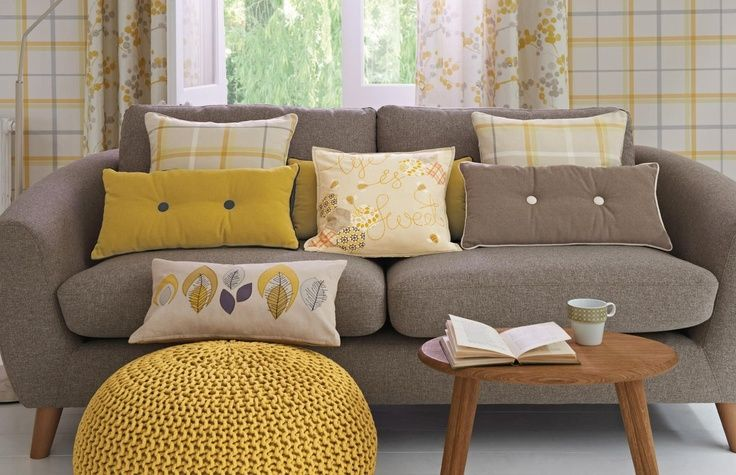Yellow cushions for dark grey sofa google search for Dark yellow living room