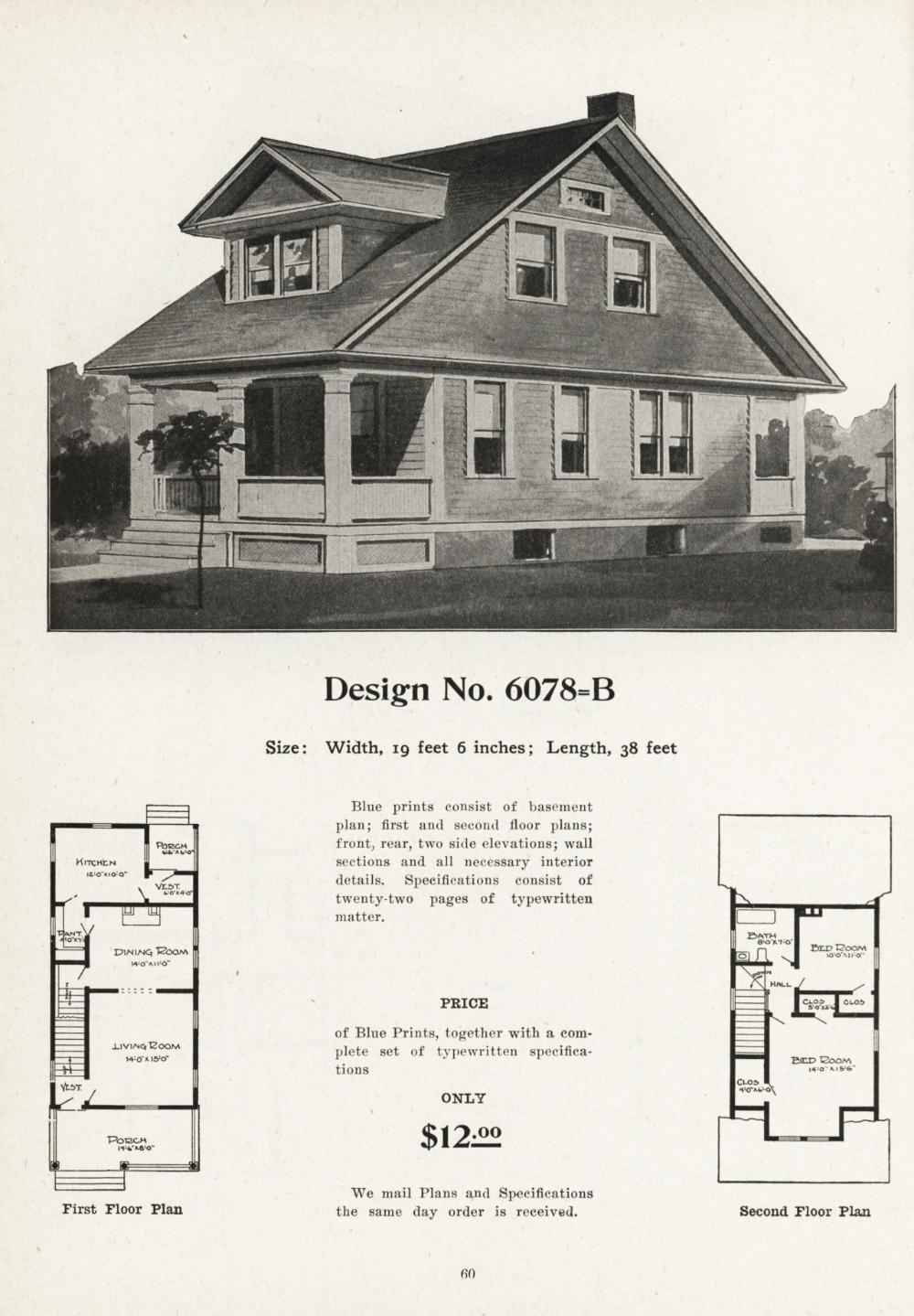 United States 1908 Design No 6078 B A Vintage Home Plans In 2020 Vintage House House Plans Cottages And Bungalows