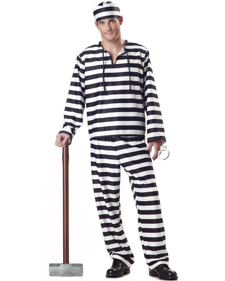 Classic Crook Men/'s Halloween Costume Jailbird Convict Striped Prisoner Jumpsuit