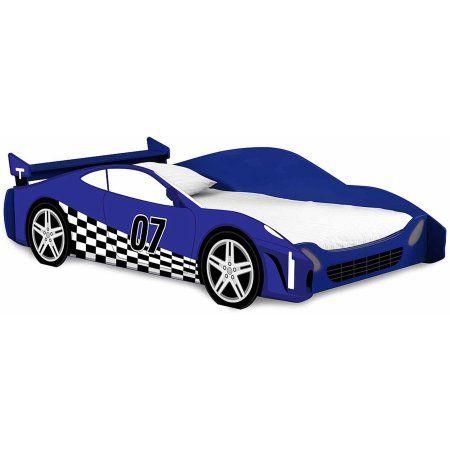 Legaré Furniture Race Car Twin Bed Frame, Kids Bed Furniture, Blue ...