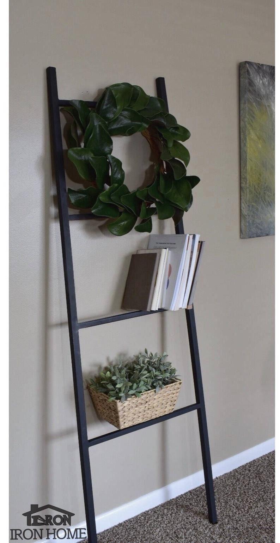 71 tall display ladder rack iron metal blanket ladder