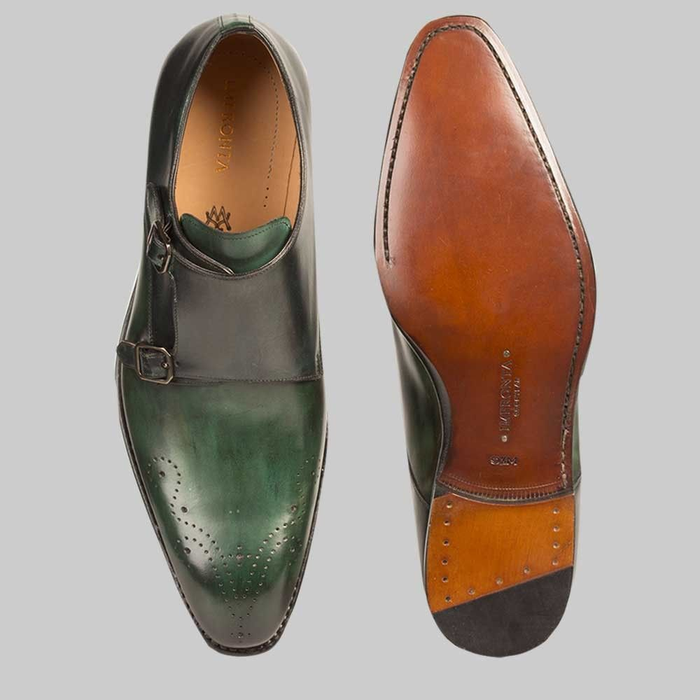 Impronta Mens Shoes G115 Green Black Italian Calfskin Loafers