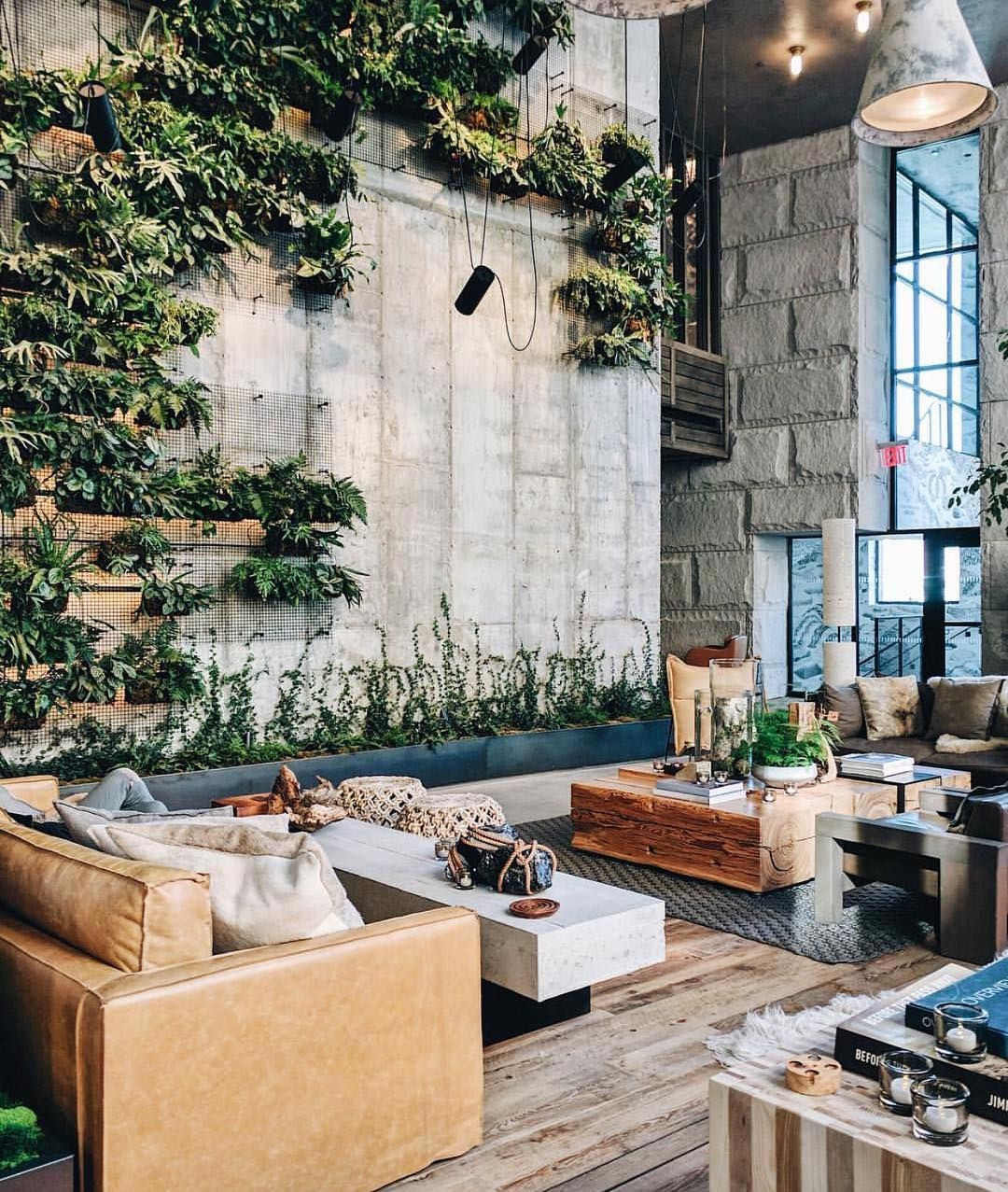 Aidan Anderson Thelocalproject On Instagram Polished Concrete Greenery Feature Wall Leather Couches Hotel Lobby Design Lobby Design Architecture Design