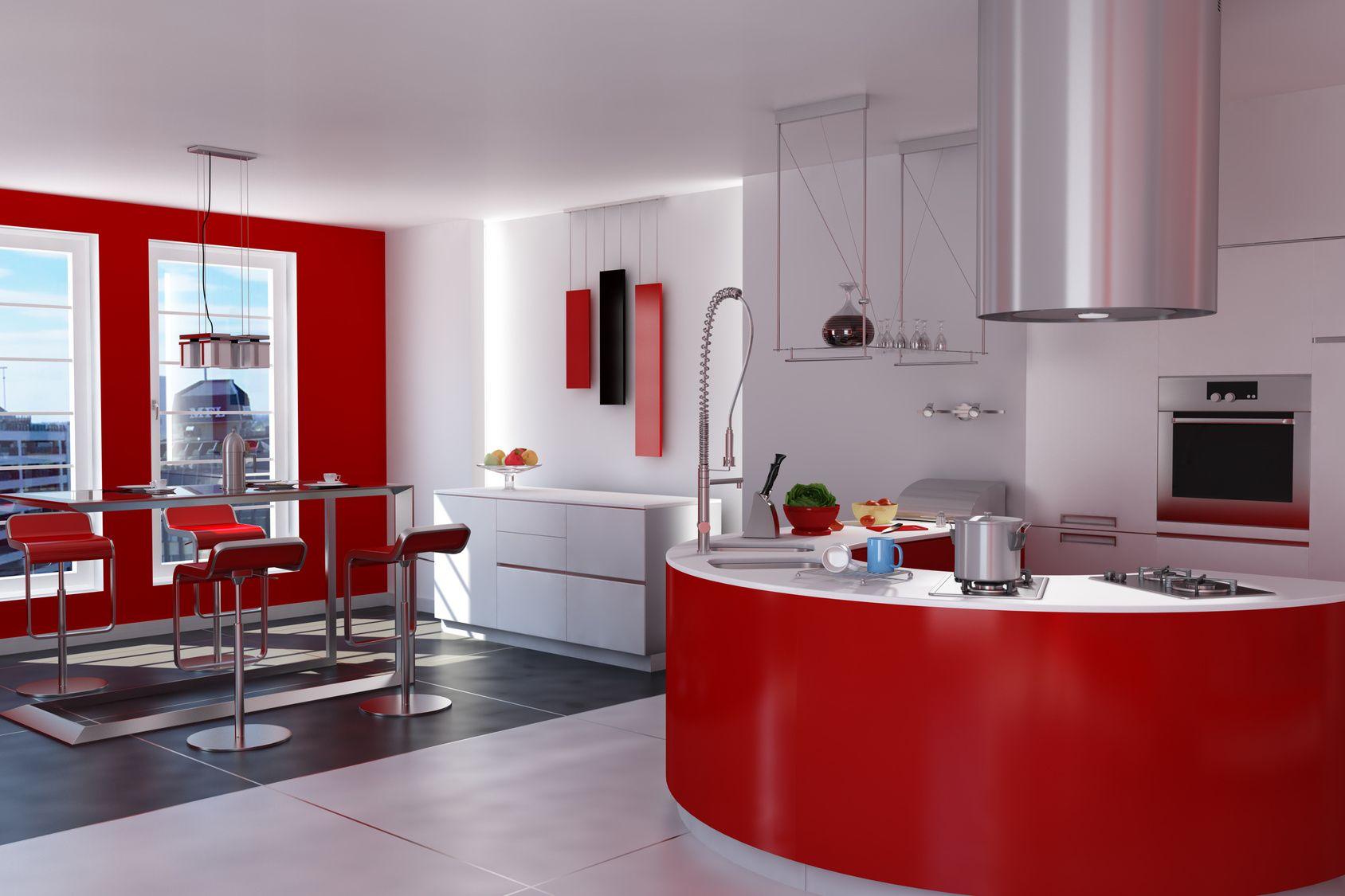 Offene Edelstahlwohnküche mit roten Fronten   Edelstahlküchen ...