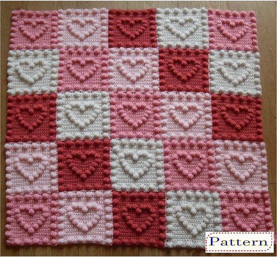 Heart Motifs Baby Blankey Crochet Pattern par PeachUnicornCrochet ...
