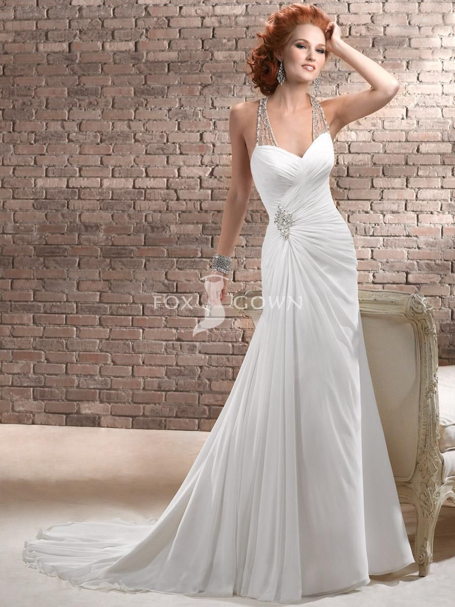 Halter Wedding Dresses Regarding Halter Sheath Chiffon Wedding Gown