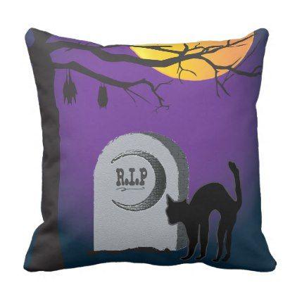 Halloween Moon Black Cat Tombstone Tree Bat Pillow - halloween decor - halloween decorations black cat
