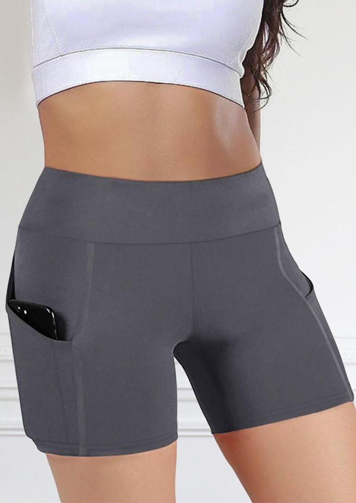 Womens Short Yoga Side Pockets High Waist Workout Running