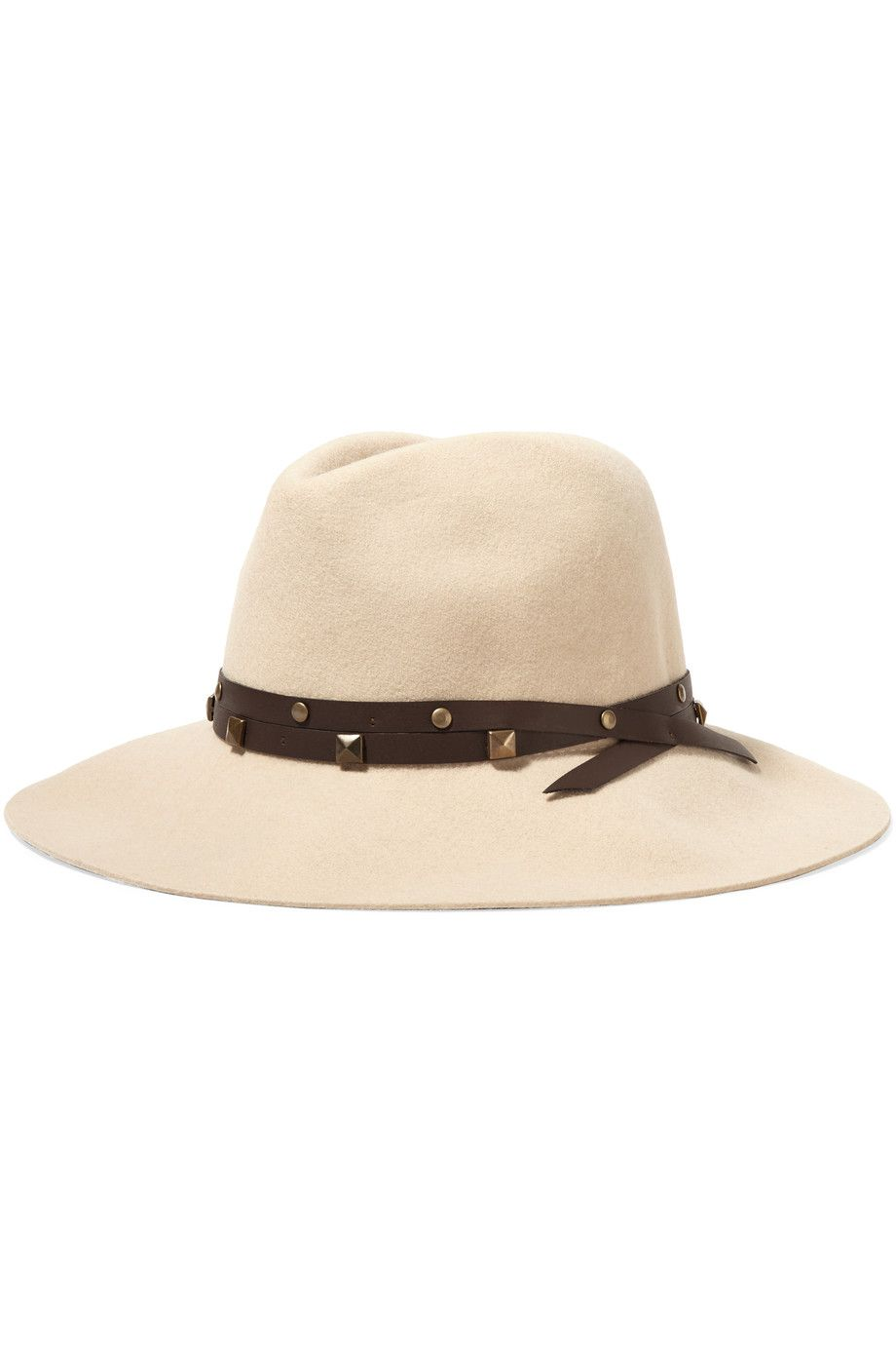 Shop on-sale Sensi Studio Studded leather-trimmed wool-felt fedora. Browse  other discount designer Hats   more on The Most Fashionable Fashion Outlet 03dd5548c6ce