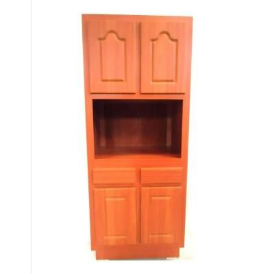 Laminate Cherry Microwave Pantry Cabinet 19130 At The Home Depot