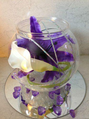 wedding table centrepiece cadbury purple orchids and calli lily bowl design   eBay