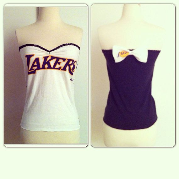 5f79abd2b8d Vintage LAKERS Tube Top with BOW Upcycled by MoonbootVintage