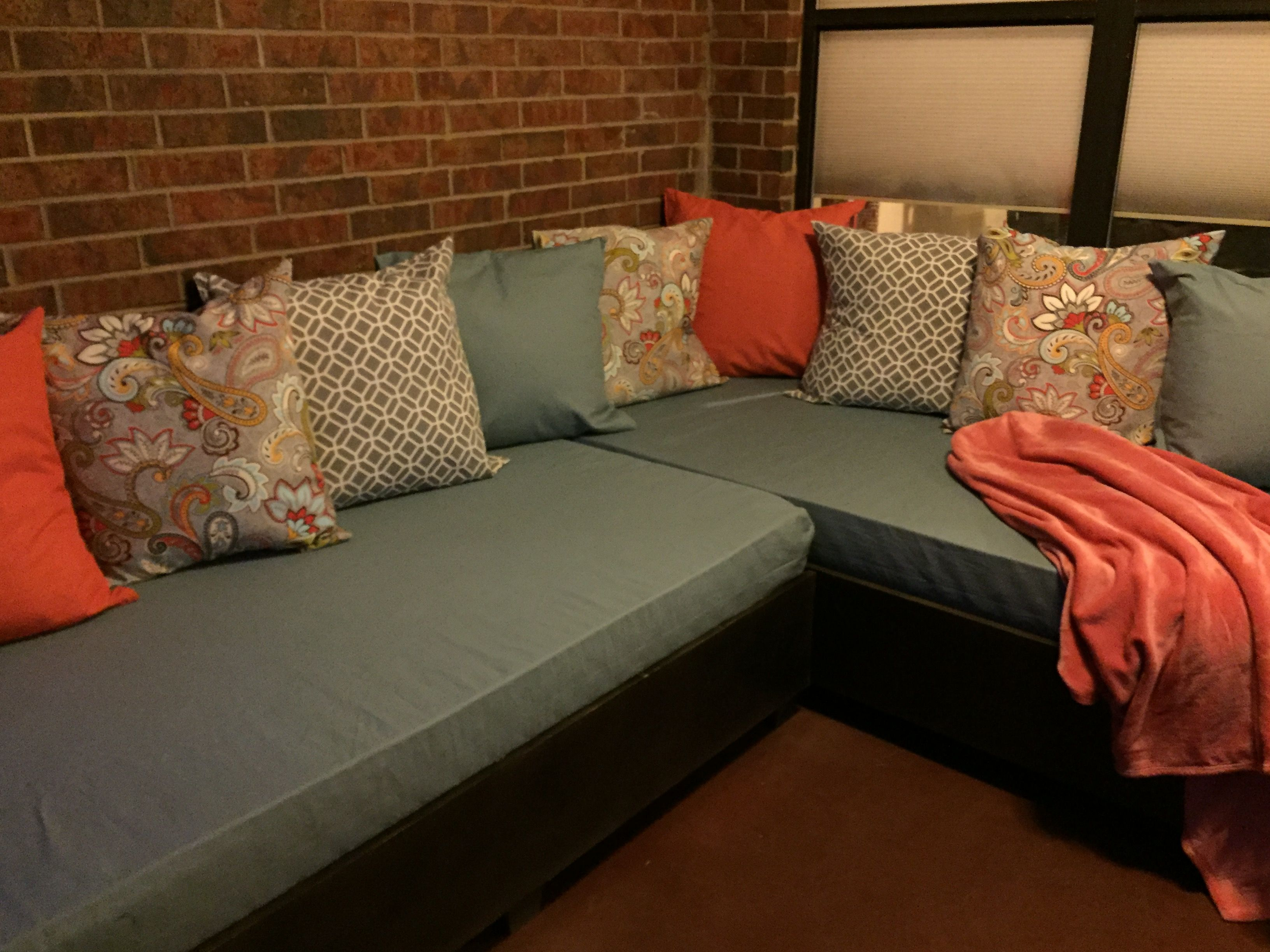 Pinterest win! Our DIY patio sectional twin sized memory