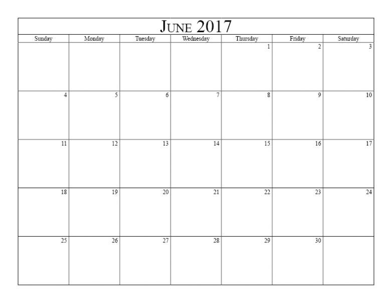 June Calendar 2017 Template June 2017 Calendar Pinterest - printable calendar template