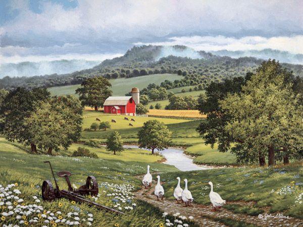 JohnSloaneArt.com - John Sloane - Gallery - Tractors and Farm Implements  Between Showers by John Sloane