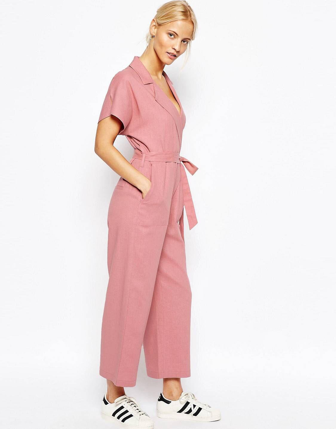 744e00d583d3 Pink linen wrap jumpsuit from Asos!  pink  jumsuit  asos
