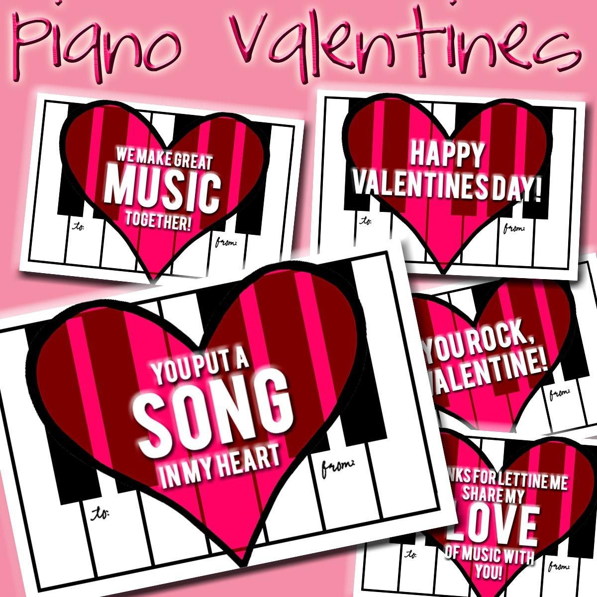 New Freebie Piano Valentines