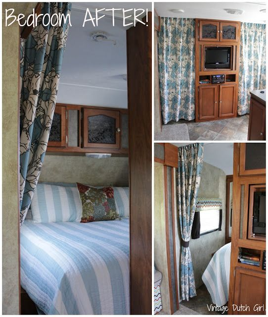 Lovely Travel Trailer Makeover: New Master Bedroom And Side Privacy Curtains,  Tutorial!