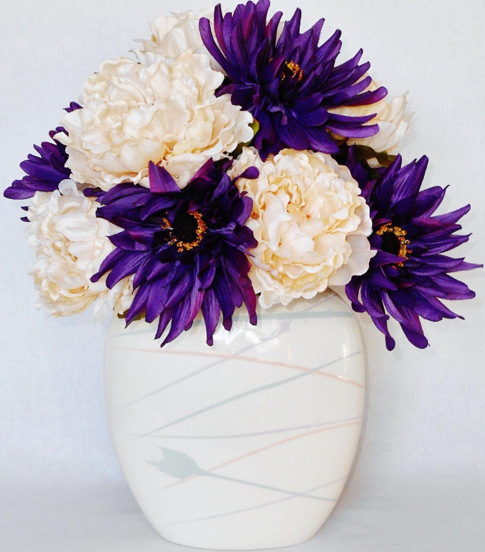 Silk flower arrangement purple gerbera daisies cream colored silk flower arrangement purple gerbera daisies cream colored peonies white vase artificial mightylinksfo