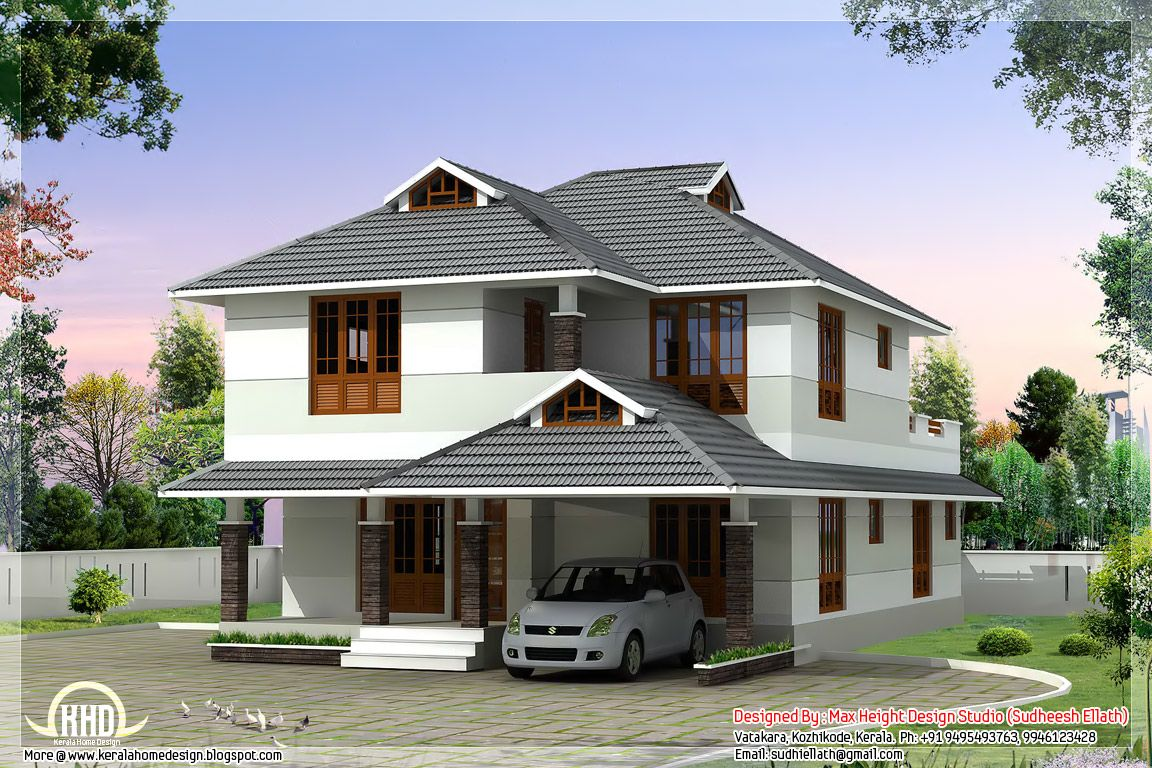 1760 beautiful 4 bedroom house plan curtains for Beautiful kerala house plans