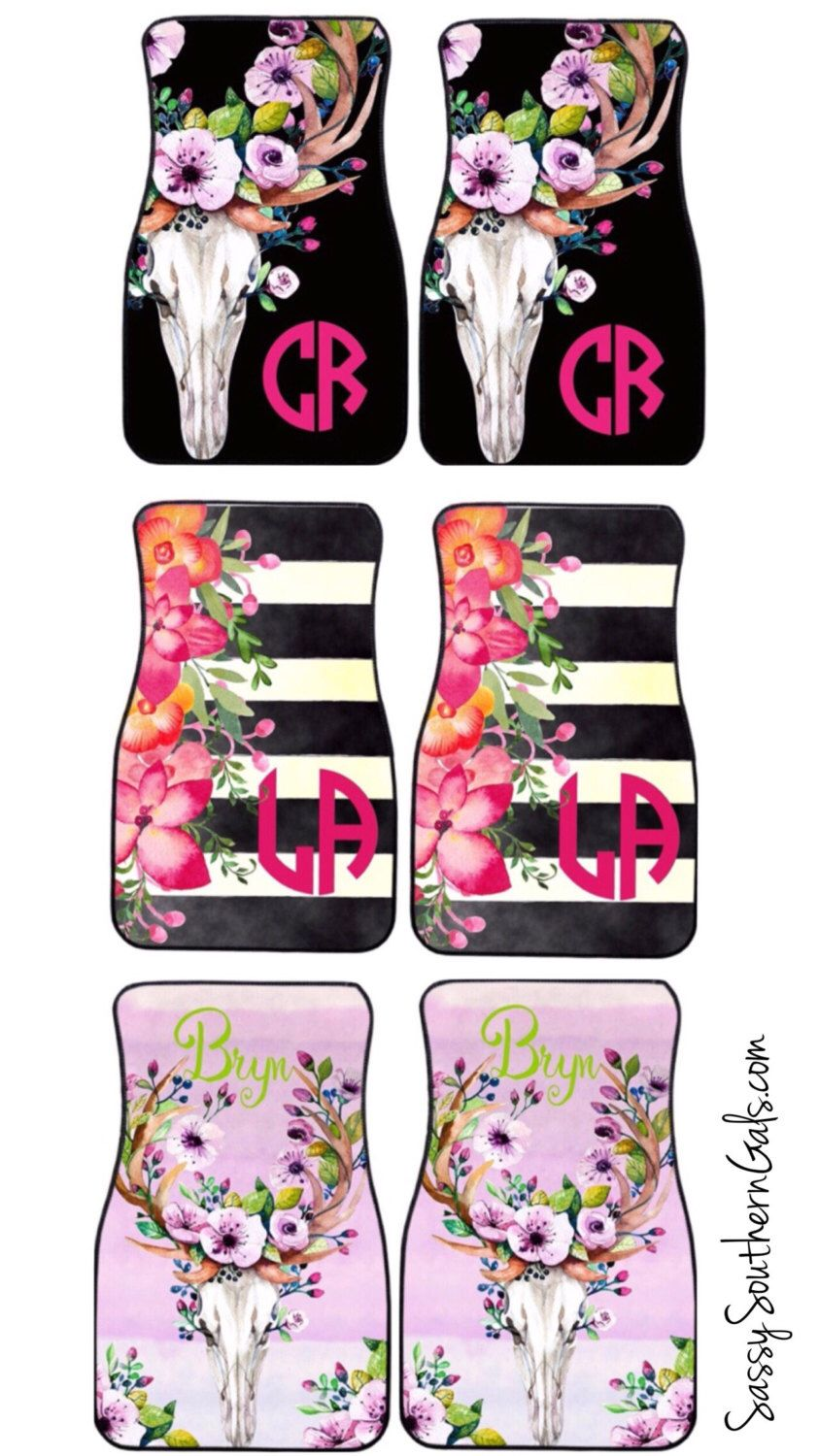 mats floor monogram pin her cute decor monogrammed custom for black carmats car floral accessories classy