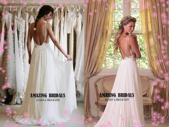 Niedrige rückseitige Hochzeitskleid, Rückenfreies Hochzeitskleid ...