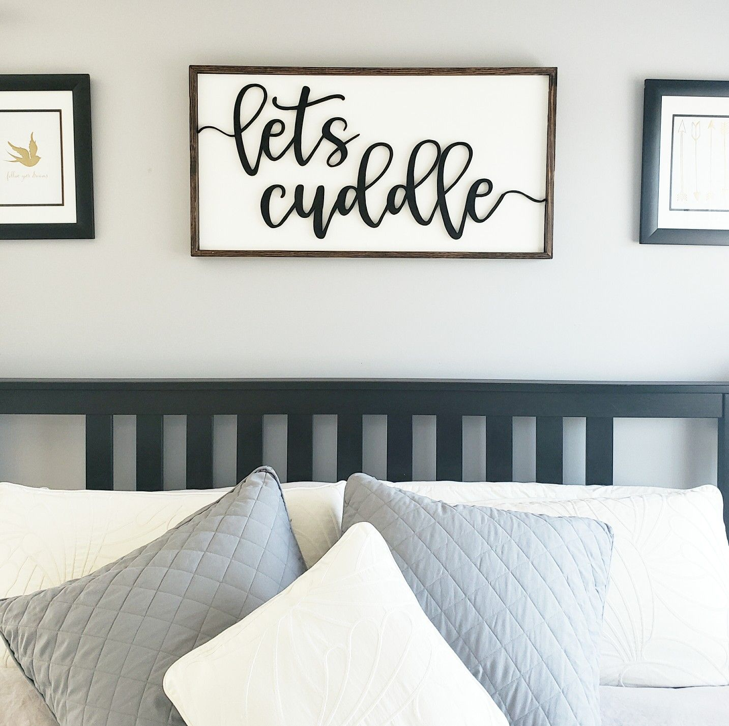 Photo of Above bed lets cuddle 3d wood sign.