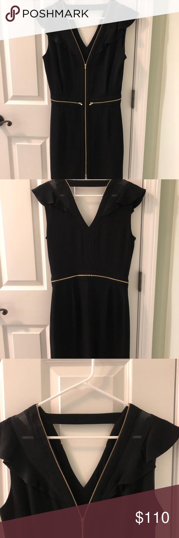 Sandro Paris Black Dress With Gold Accents M Clothes Design Black Dress Little Black Dress [ 1740 x 580 Pixel ]