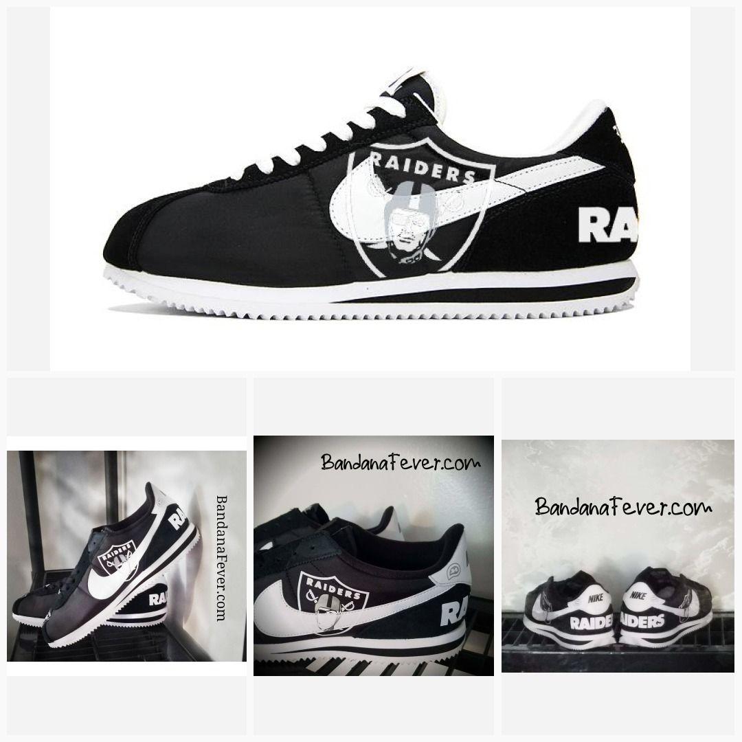 0912418c Bandana Fever Oakland Raiders Print Custom Black/White Nike Cortez Shoes  #raidersrollcall #raiderpride #raidersnation #raidernation