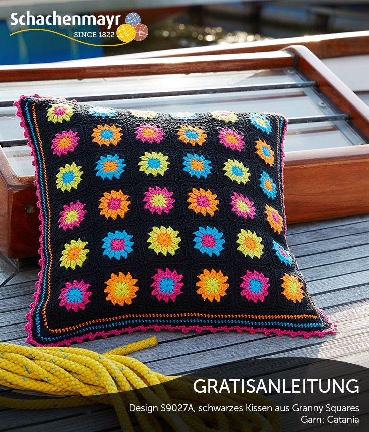Dieses Kissen aus dem Baumwollgarn Schachenmayr #CataniaWolle ist ...