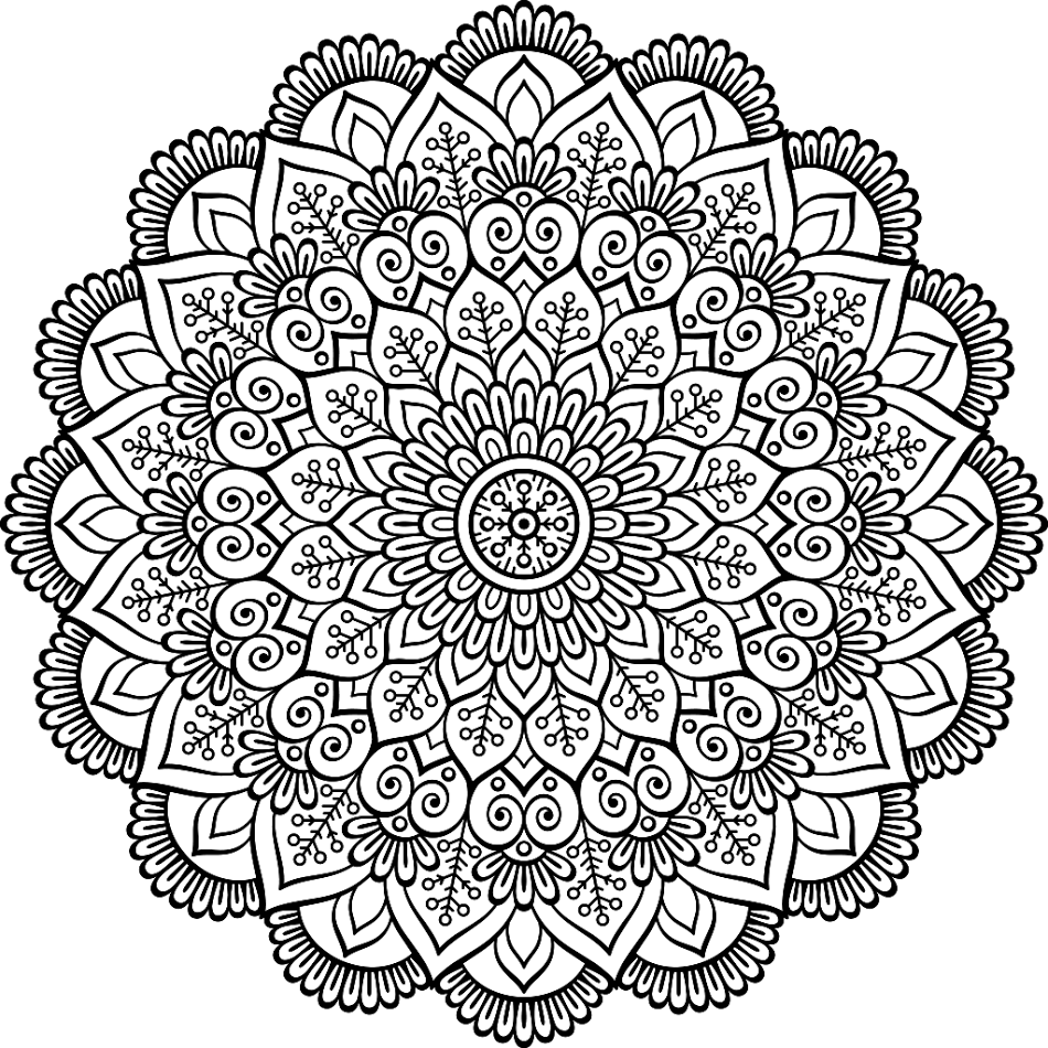 Mandala Coloring Pages, Flower