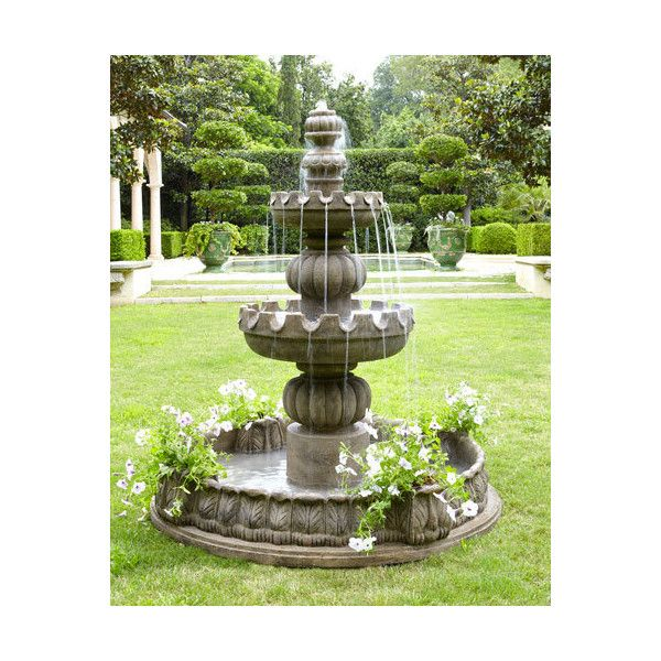 Neiman Marcus Three Tier Castle Fountain 7 480 Sar Liked On Polyvore Featuring Home Outdoors Garden Foun Fountains Outdoor Garden Fountains Tiered Garden