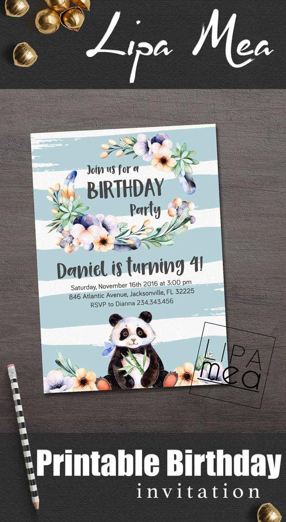 Boy Birthday Invitation Printable Panda Invite Party Invitations Lipameaetsy