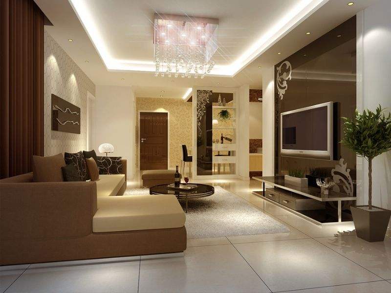 living room pleasant brown sofa sectionals and lovely white fur rug also cool flooring ideas and round glass coffee table with cozy new living room interior - Interior Design Ideas For Living Room