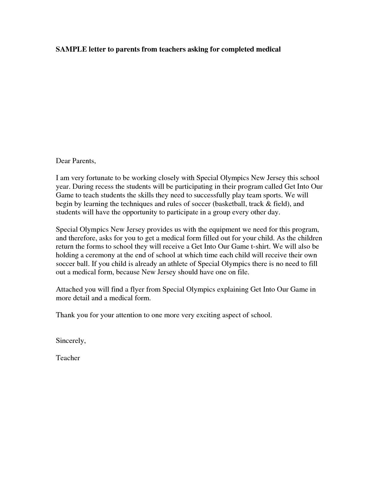 teacher letter to a parent google search