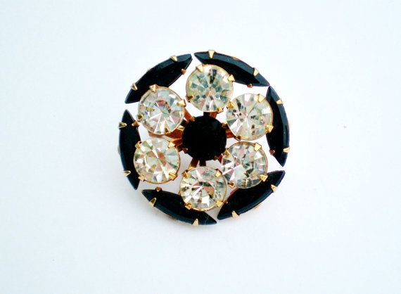 Vintage Brooch Pin Necklace Jet Black Marquies Large by BagsnBling, $16.99
