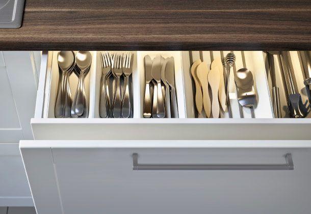 Geöffnete Schubladen von METOD Unterschrank mit 2 Schubladen in - ikea küchen unterschränke