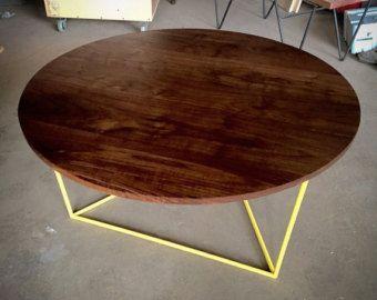 Tavolino da salotto moderno, tavolo rotondo con Top in noce massello ...