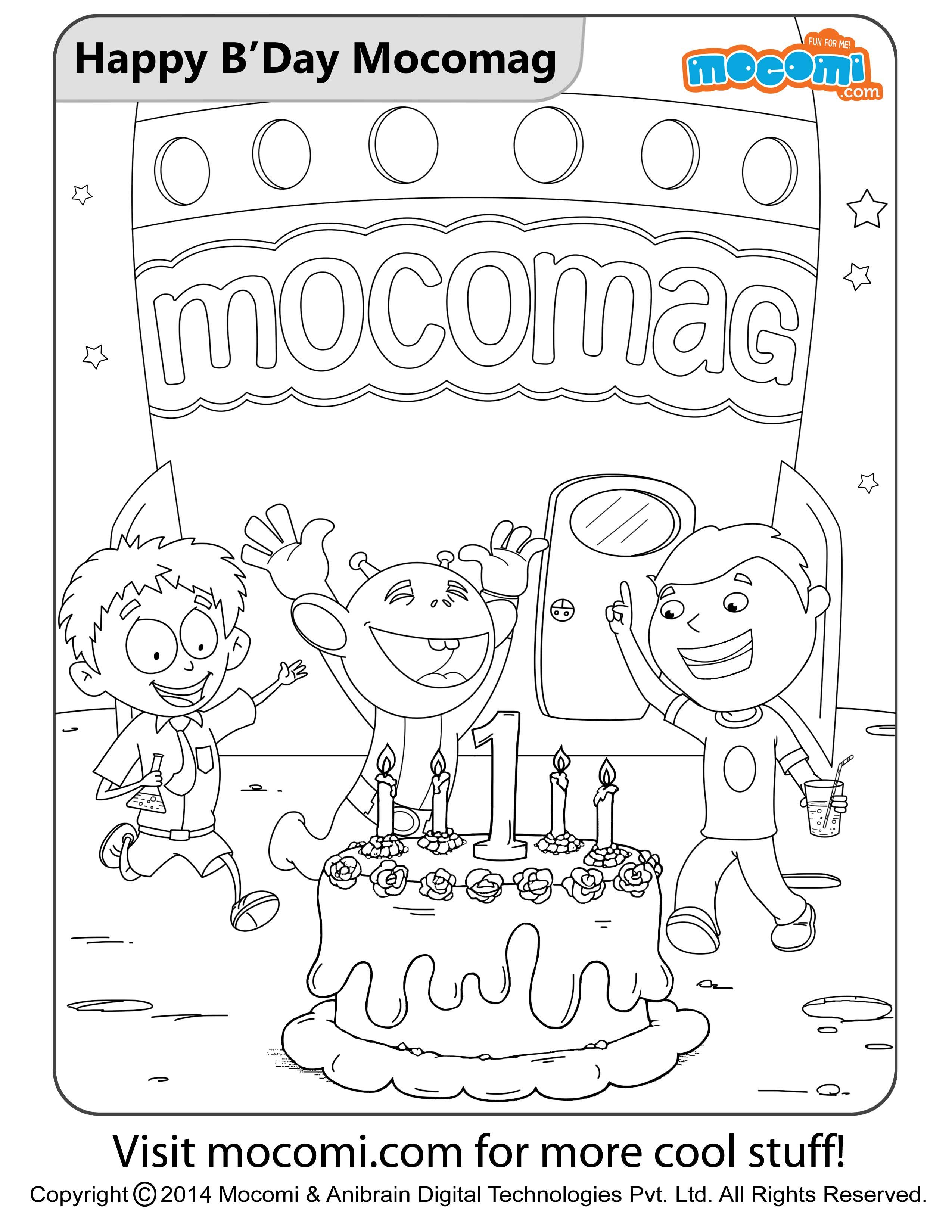 Happy Birthday Mocomag - Colouring Pages for Kids | Pinterest ...