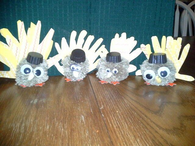Pom pom, hand print turkeys. 2013