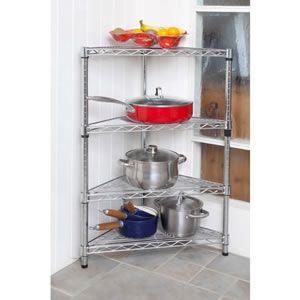 caraselle 3 feet high chromed steel modular corner shelving unit