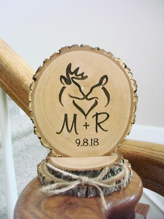 Rustic Wood Cake Topper, Buck & Doe Topper, Hunting Cake Topper ...