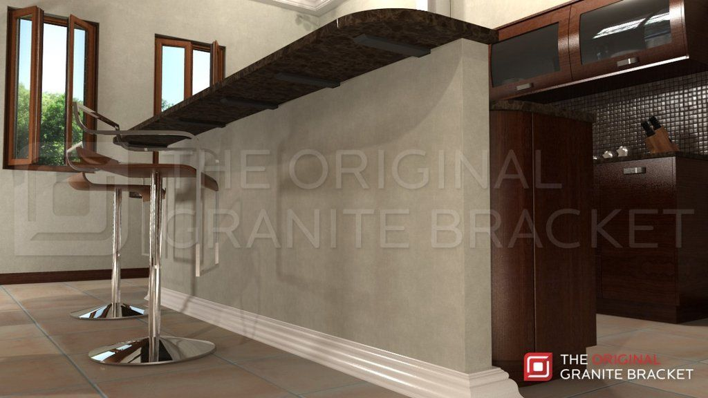Kitchen Island Knee Wall make countertop float with hidden granite countertop support
