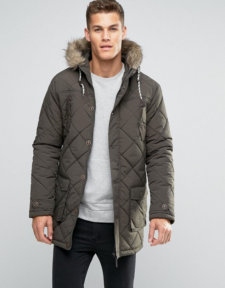 Brave Soul Quilted Parka Jacket with Faux Fur Trim Hood | Jackets ... : quilted parkas - Adamdwight.com