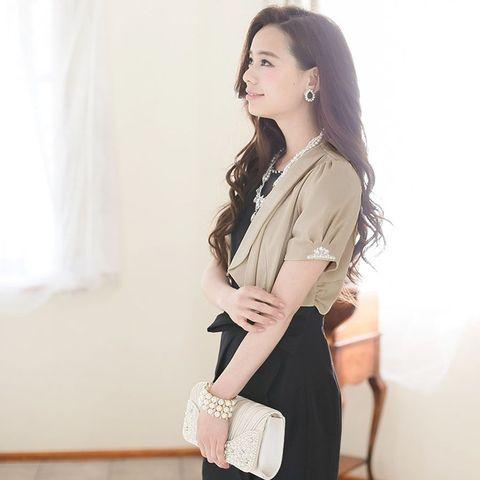 305f0149b7c7f リボン ボレロ 二次会 結婚式 ワンピース ドレス LA 羽織 フォーマル パーティードレス シフォン ビジュー 大人 お呼ばれ