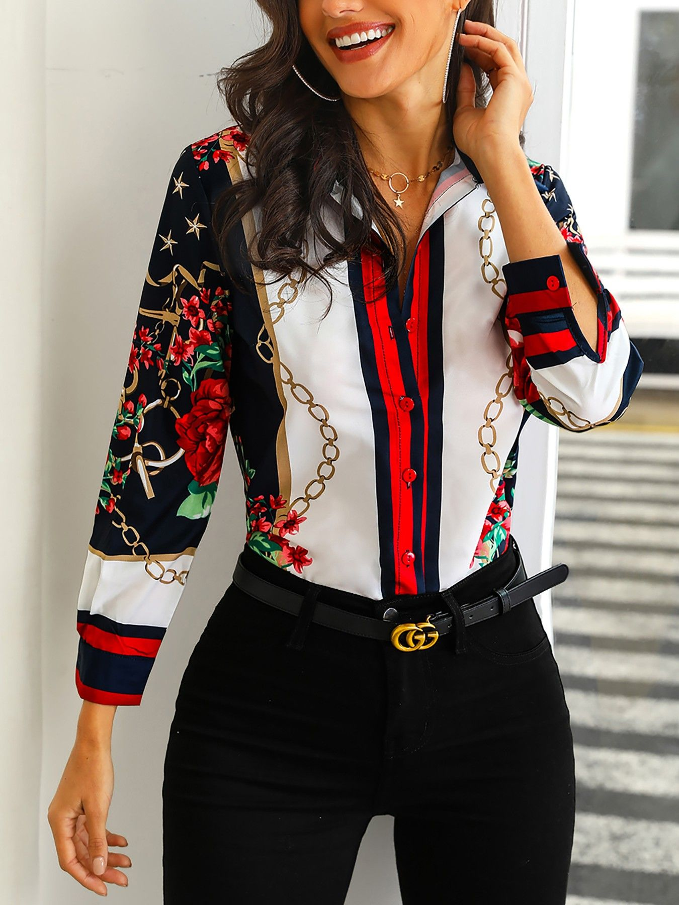 Floral Chains Print Casual Blouse Clothes For Women Casual Blouse Womens Fashion