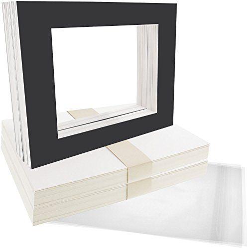 Us Art Supply Art Mats Brand Premier Acidfree Precut 8x10 Black Picture Mat Matte Sets Includes A Pack Of 50 White Core Art Mat Matting Pictures Black Picture