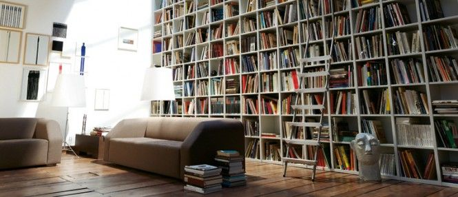 Creative Wall Bookshelf Design for Your House' Setting: Long And Large  Bookshelf With Creamy