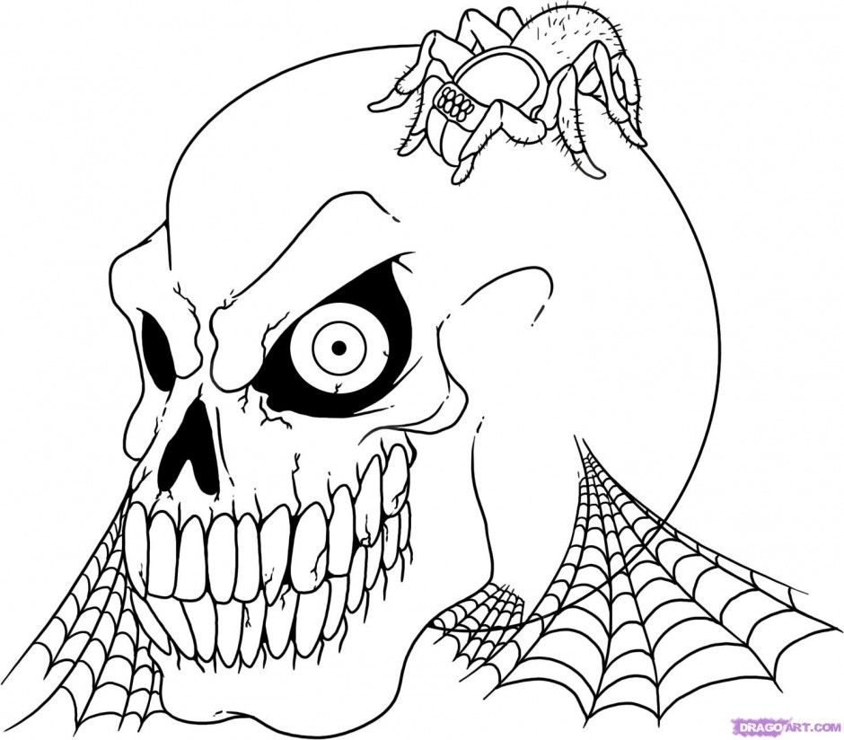 Skulls On Fire Coloring Pages. 44 best skulls to draw images on ...
