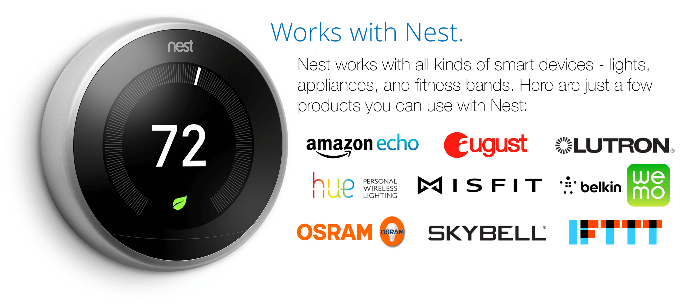 Works With Nest partners Nest learning thermostat